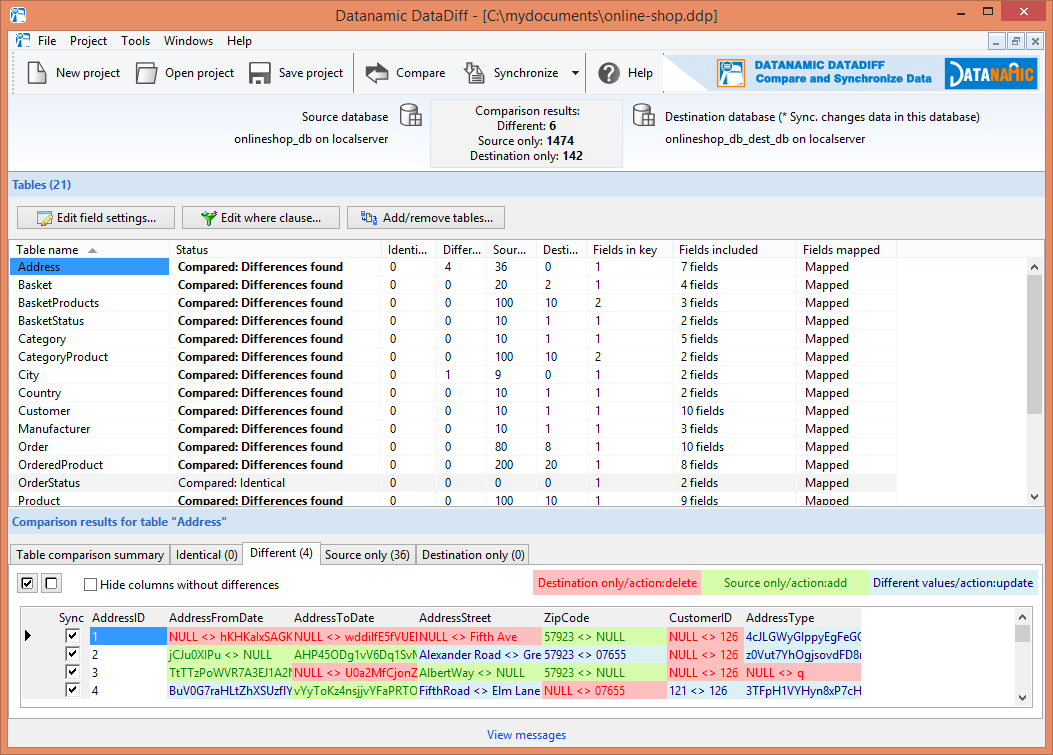Select the MS SQL Server databases you want to compare.
