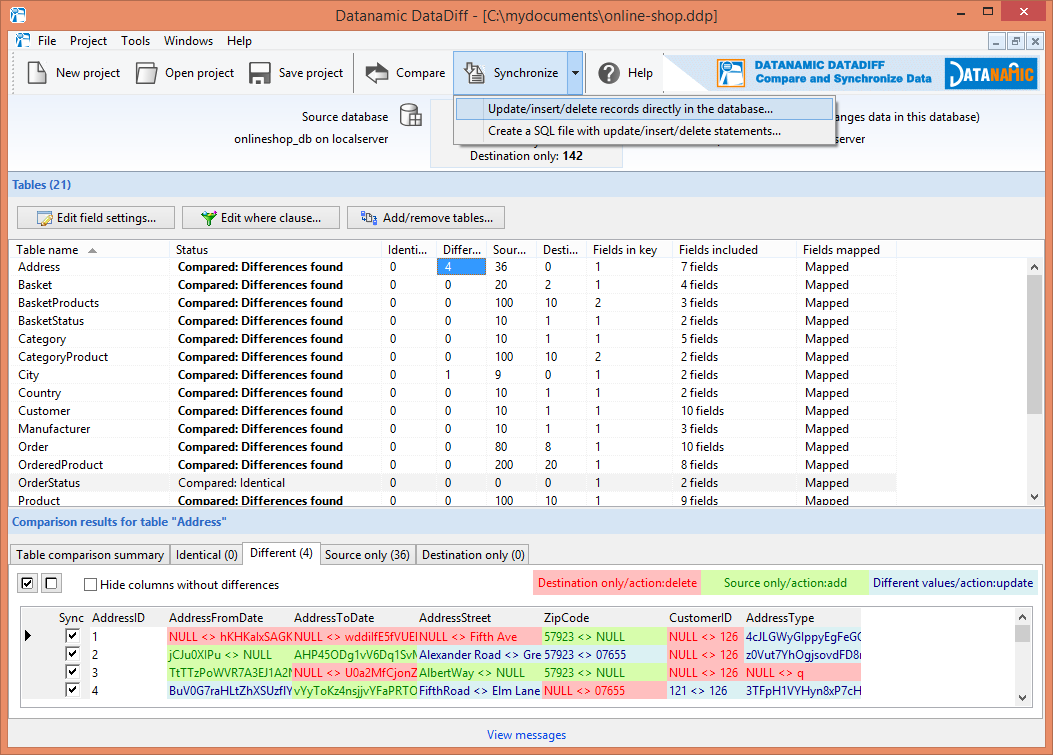 Start synchronizing the two databases. Generate an update script or update the database records directly.