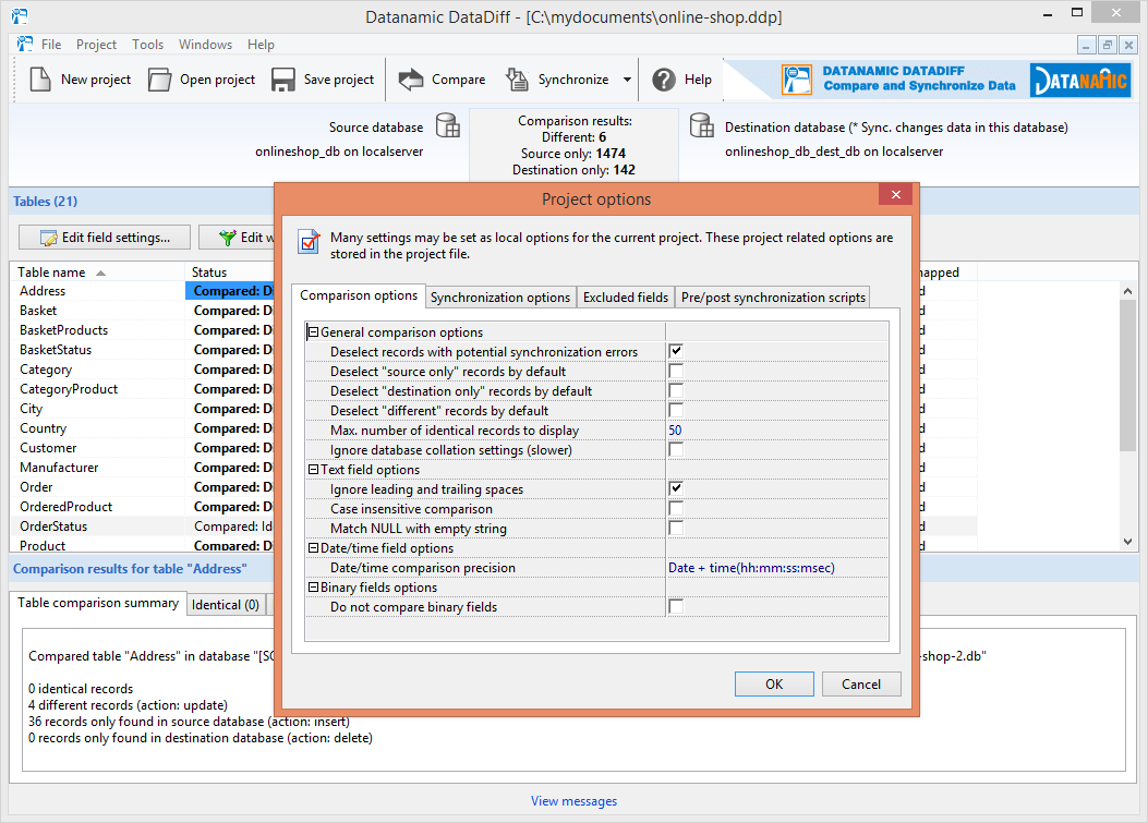 Control how to compare the data with the comparison options.