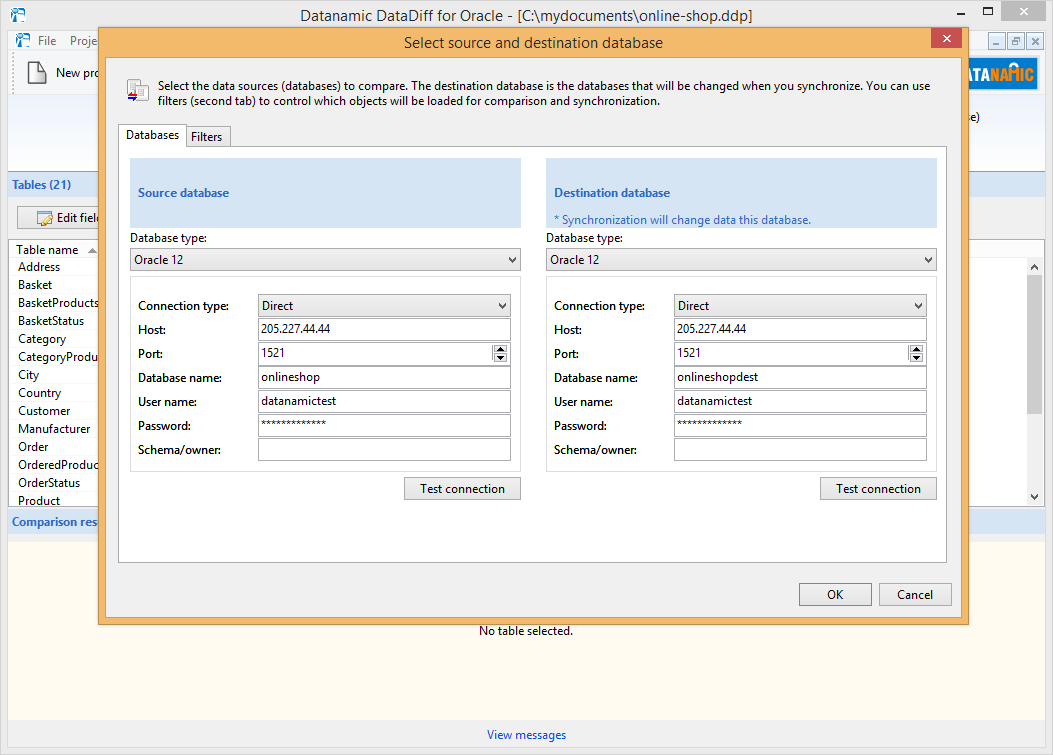 Select the Oracle databases you want to compare.