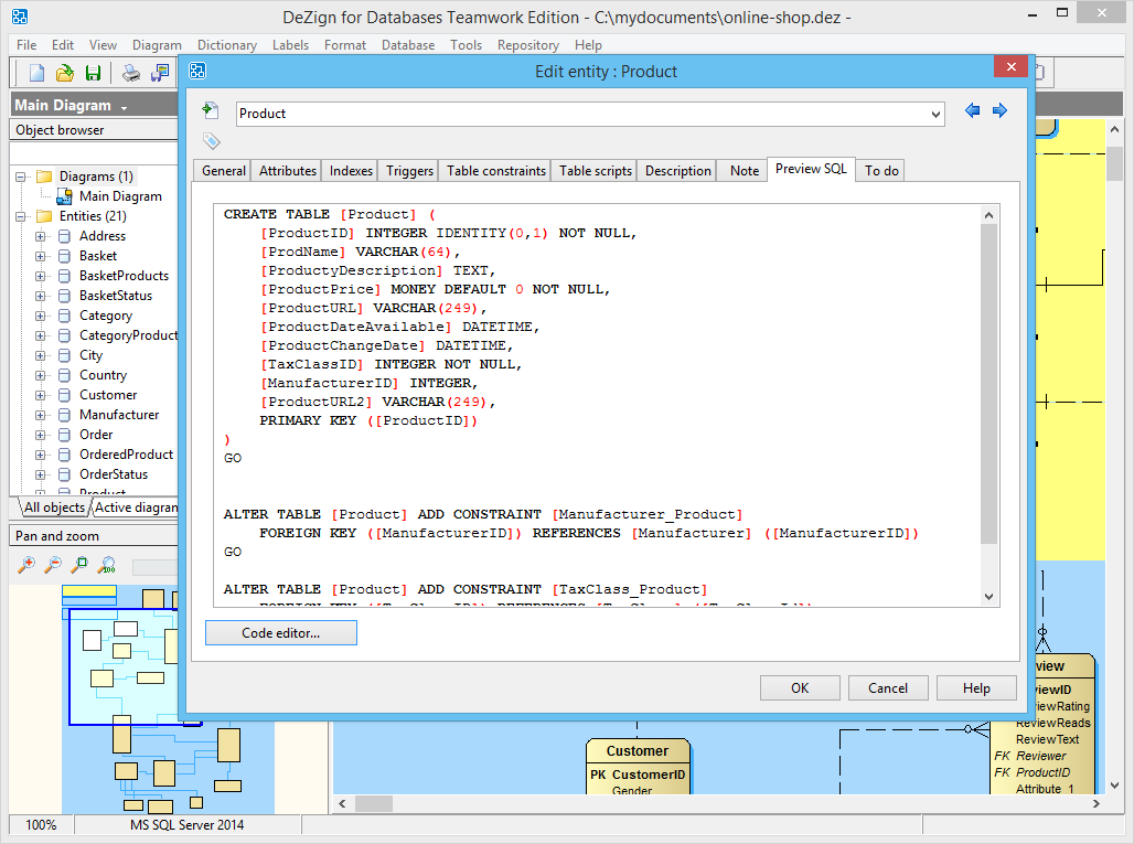 Preview of the SQL that will be generated.