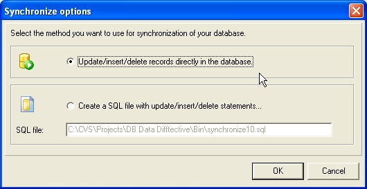 Synchronize to database directly or generate a synchronization script